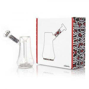 red-white-bubbler-glass-k-haring-bear-bush