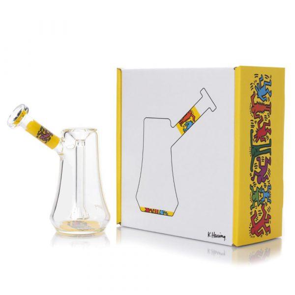 yellow-white-bubbler-glass-k-haring-bear-bush-1